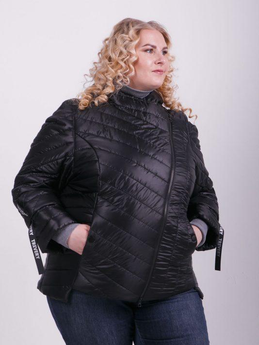 Брендированная куртка косуха с силиконовыми лентами, цвет черный в интернет-магазине Фабрики Тревери
