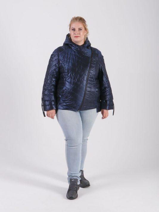 Брендированная куртка косуха с силиконовыми лентами, цвет синий в интернет-магазине Фабрики Тревери