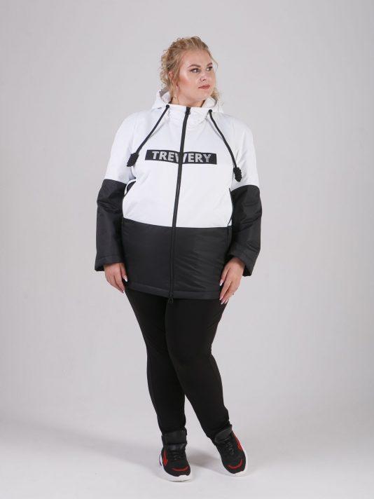 Черно-белая женская куртка с брендированной лентой, цвет белый в интернет-магазине Фабрики Тревери