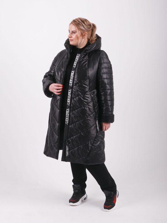 Стильное брендированное пальто из комбинированной стеганной ткани, цвет черный в интернет-магазине Фабрики Тревери