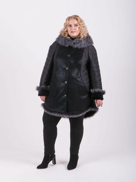 Комбинированная дубленка из меха и стеганой ткани с мехом Таскана, цвет черный в интернет-магазине Фабрики Тревери
