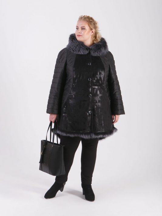 Комбинированная дубленка штрих со стеганной тканью и мехом Тоскана, цвет черный в интернет-магазине Фабрики Тревери
