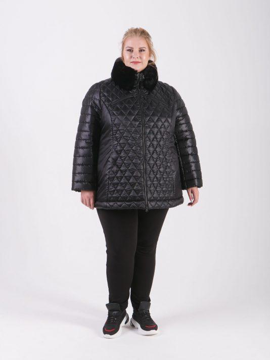 Комбинированная куртка из трех плащевых тканей с песцом, цвет черный в интернет-магазине Фабрики Тревери