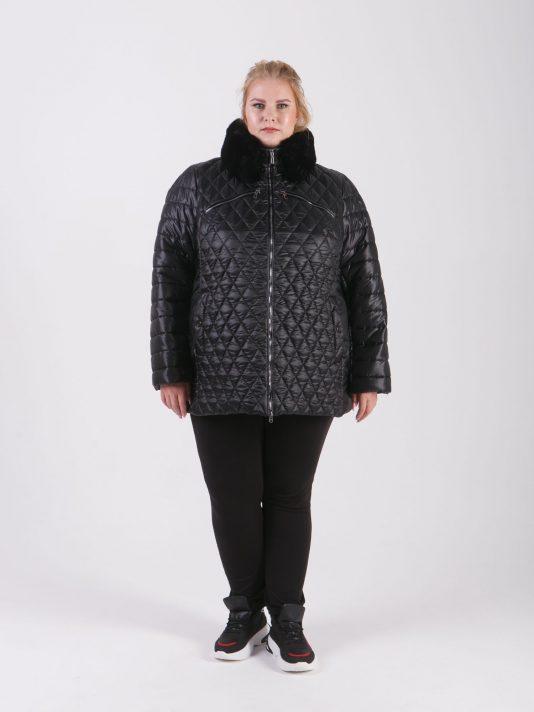 Комбинированная куртка из трех плащевых тканей с песцовым воротником на магнитных кнопках, цвет черный в интернет-магазине Фабрики Тревери