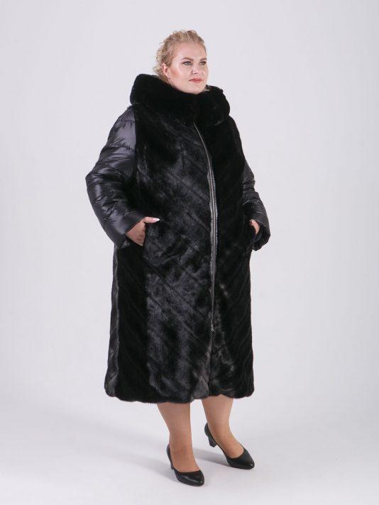 Комбинированное пальто из экомеха и стеганной плащевой ткани, цвет черный в интернет-магазине Фабрики Тревери