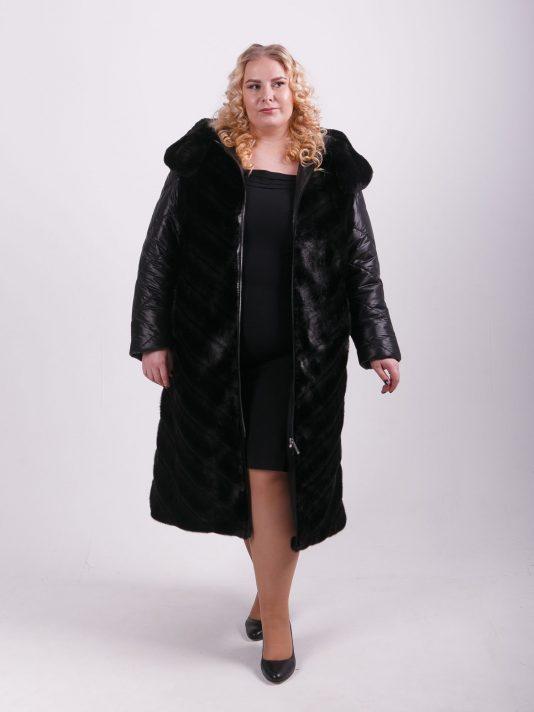 Комбинированное женское пальто из экомеха и стеганной плащевой ткани, цвет черный в интернет-магазине Фабрики Тревери