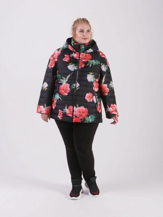 Куртка с ярким мультиколоровым принтом в виде крупных маков, цвет черный в интернет-магазине Фабрики Тревери