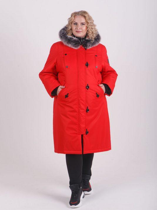 Молодежная куртка яркого красного цвета с натуральным песцом, цвет красный в интернет-магазине Фабрики Тревери