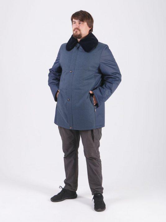 Мужская демисезонная куртка из 2-х тканей, цвет синий в интернет-магазине Фабрики Тревери
