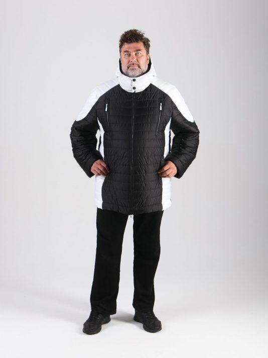 Мужская комбинированная черно-белая куртка, цвет черный в интернет-магазине Фабрики Тревери