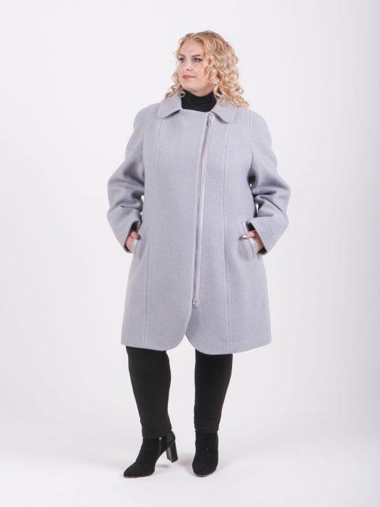 Оригинальное полупальто из вареной шерсти для высоких девушек, цвет серый в интернет-магазине Фабрики Тревери