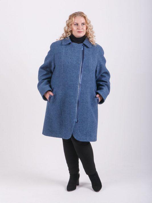 Оригинальное полупальто из вареной шерсти для высоких девушек, цвет темно-синий в интернет-магазине Фабрики Тревери