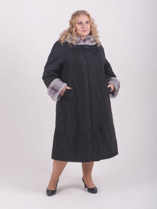 Оригинальное зимнее пальто с отделкой норкой крестовкой, цвет черный в интернет-магазине Фабрики Тревери