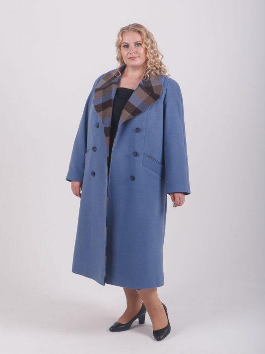 Пальто из голубого драпа с клеткой, цвет голубой в интернет-магазине Фабрики Тревери