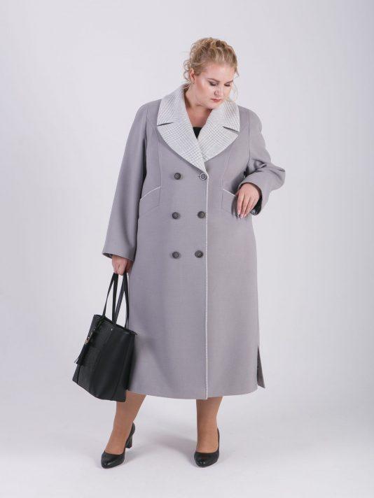 Пальто женское демисезонное из серого драпа с отделкой из клетки, цвет серый в интернет-магазине Фабрики Тревери