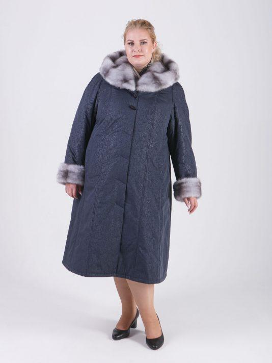 Пальто женское зимнее из плащевой ткани глубокого серого цвета с цветочным принтом, цвет серый в интернет-магазине Фабрики Тревери