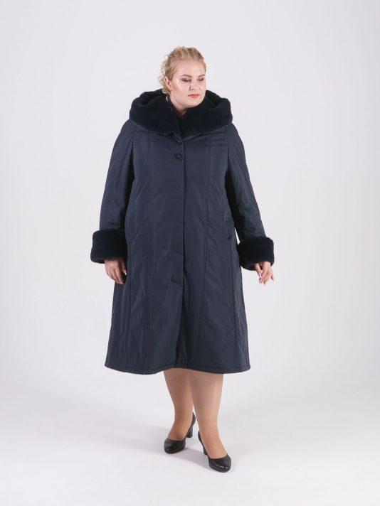 Пальто женское зимнее из плащевой ткани, цвет синий в интернет-магазине Фабрики Тревери