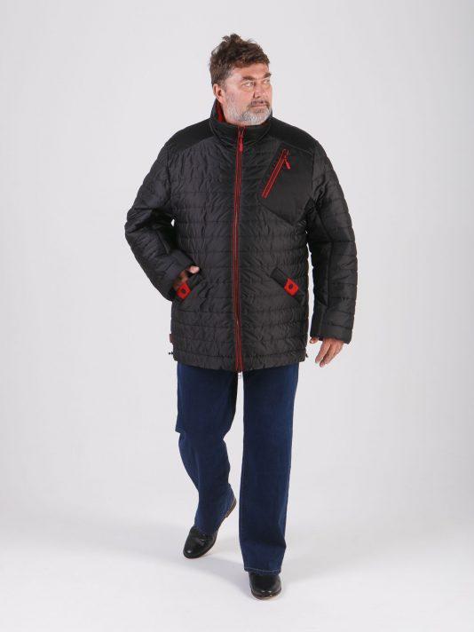 Спортивная комбинированная мужская куртка прямого силуэта, цвет черный в интернет-магазине Фабрики Тревери