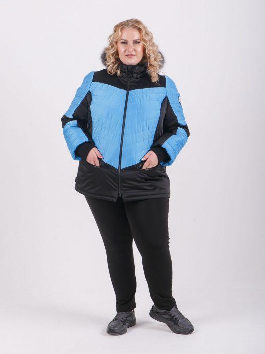 Спортивная женская куртка с капюшоном и мехом, цвет черный в интернет-магазине Фабрики Тревери