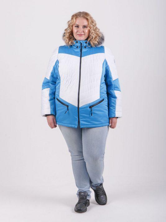 Спортивная женская куртка с капюшоном и мехом, цвет голубой в интернет-магазине Фабрики Тревери