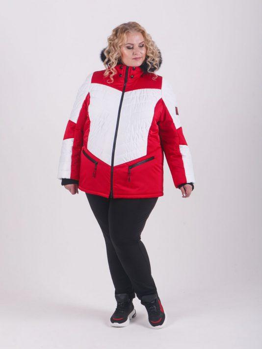 Спортивная женская куртка с капюшоном и мехом, цвет красный в интернет-магазине Фабрики Тревери