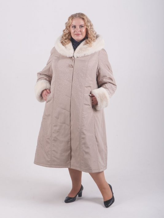 Тёплое бежевое пальто с принтом в виде молний, цвет бежевый в интернет-магазине Фабрики Тревери