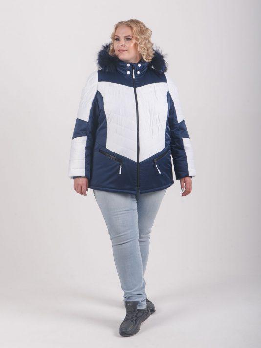 Яркая модная куртка с натуральной опушкой из енота, цвет синий в интернет-магазине Фабрики Тревери