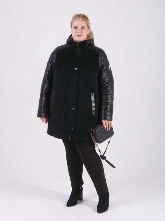 Женская куртка-парка из драпа со стеганной плащевкой, цвет черный в интернет-магазине Фабрики Тревери