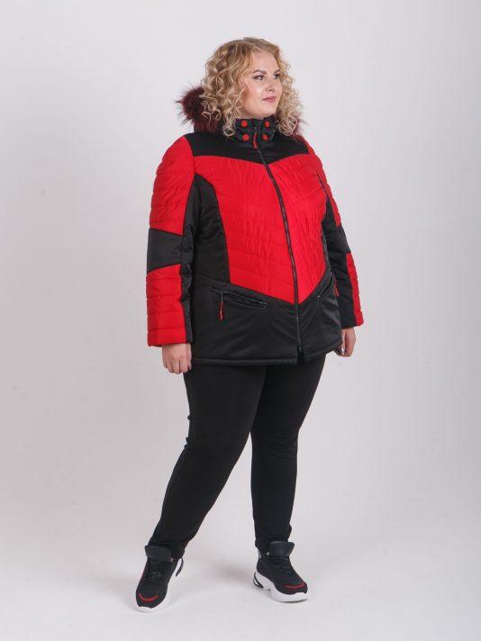Женская куртка в ярком черно-красном цвете и с натуральной опушкой из енота , цвет черный в интернет-магазине Фабрики Тревери