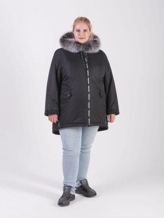 Женская мембранная куртка черного цвета с брендированной лентой, цвет черный в интернет-магазине Фабрики Тревери