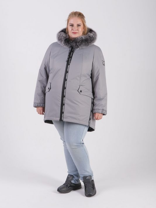 Женская зимняя куртка из плащевой ткани серого цвета с натуральным песцом, цвет серый в интернет-магазине Фабрики Тревери