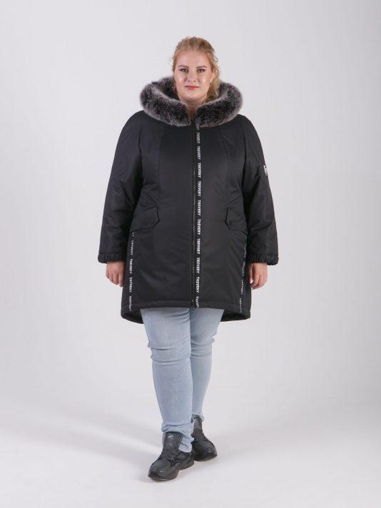 Женская зимняя куртка-парка из плащевой ткани черного цвета, цвет черный в интернет-магазине Фабрики Тревери