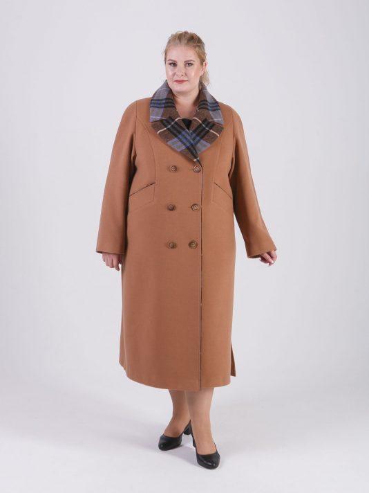 Женское демисезонное пальто из драпа песочно-бежевого цвета, цвет рыжий в интернет-магазине Фабрики Тревери