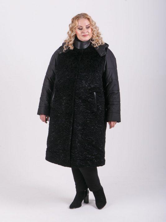 Пальто из каракуля и стеганной плащевки с отделкой из кожи, цвет черный в интернет-магазине Фабрики Тревери