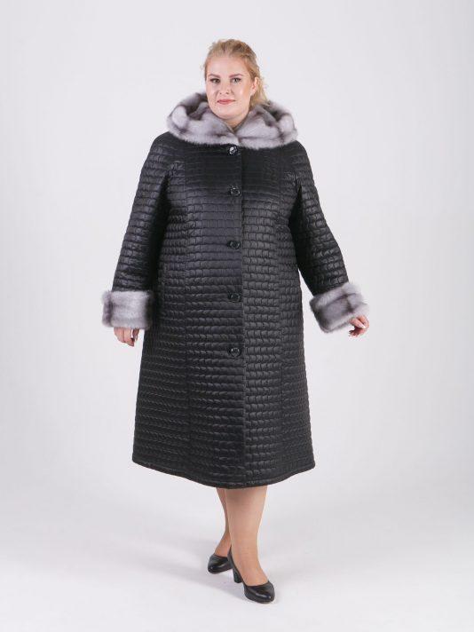 Женское зимнее стеганое пальто с отделкой из норки крестовки, цвет черный в интернет-магазине Фабрики Тревери