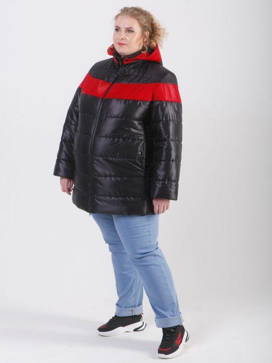 Женская куртка с ярким красным акцентом, цвет черный в интернет-магазине Фабрики Тревери