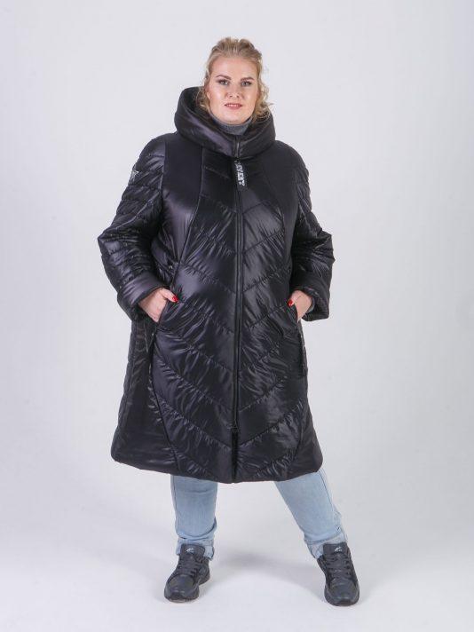 Женское пальто из стеганной ткани с брендированными силиконовыми лентами, цвет черный в интернет-магазине Фабрики Тревери