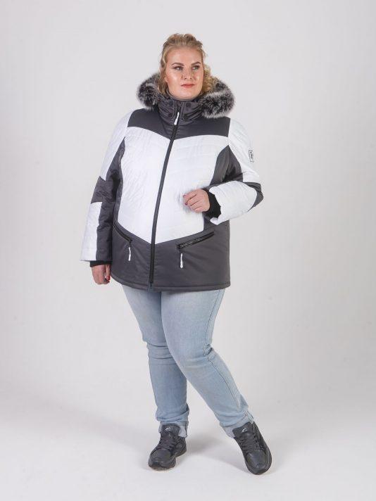 Спортивная женская куртка с капюшоном и мехом, цвет серый в интернет-магазине Фабрики Тревери