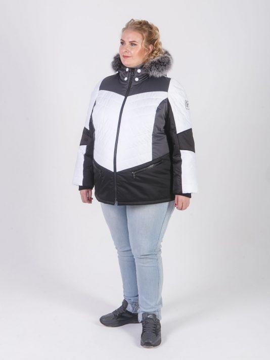 Комбинированная куртка из трех плащевых с песцом, цвет белый в интернет-магазине Фабрики Тревери
