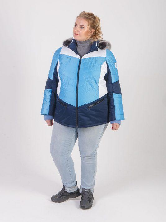 Комбинированная куртка из трех плащевых с песцом, цвет голубой в интернет-магазине Фабрики Тревери