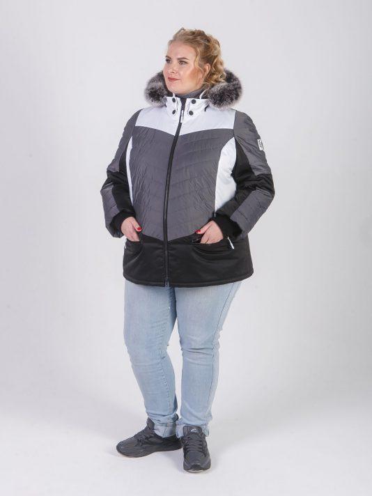 Комбинированная куртка из трех плащевых с песцом, цвет серый в интернет-магазине Фабрики Тревери