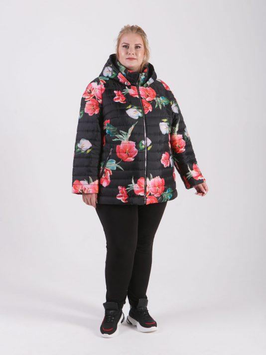 Куртка из ткани с ярким принтом в виде маков, цвет черный в интернет-магазине Фабрики Тревери