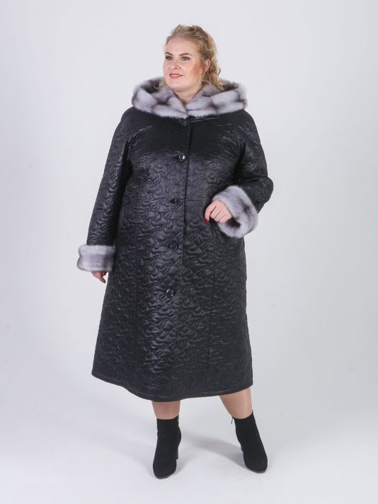 Пальто женское из стеганной плащевки модного геометрического рисунка, цвет черный в интернет-магазине Фабрики Тревери