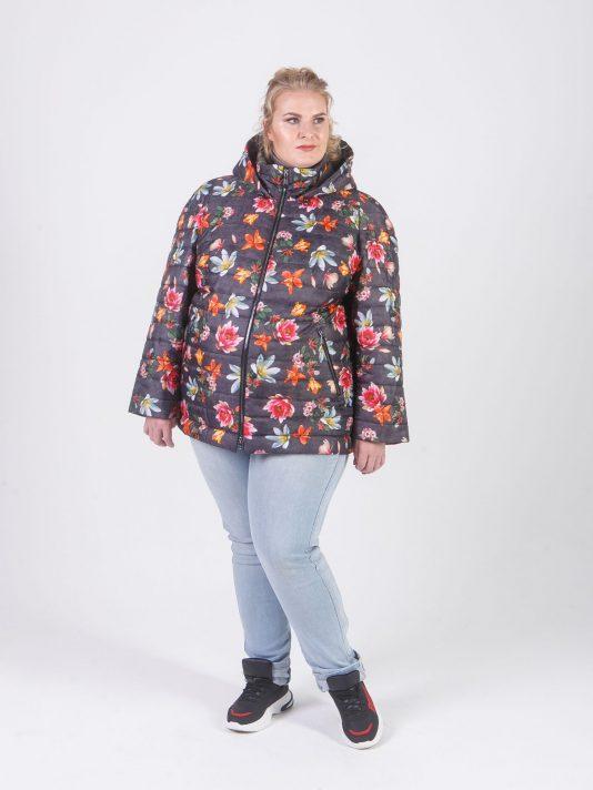 Стеганная куртка с принтом в виде лилий, цвет серый в интернет-магазине Фабрики Тревери