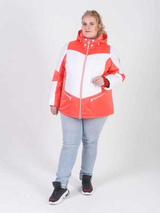 Яркая женская куртка белого и кораллового цвета, цвет светло-розовый в интернет-магазине Фабрики Тревери