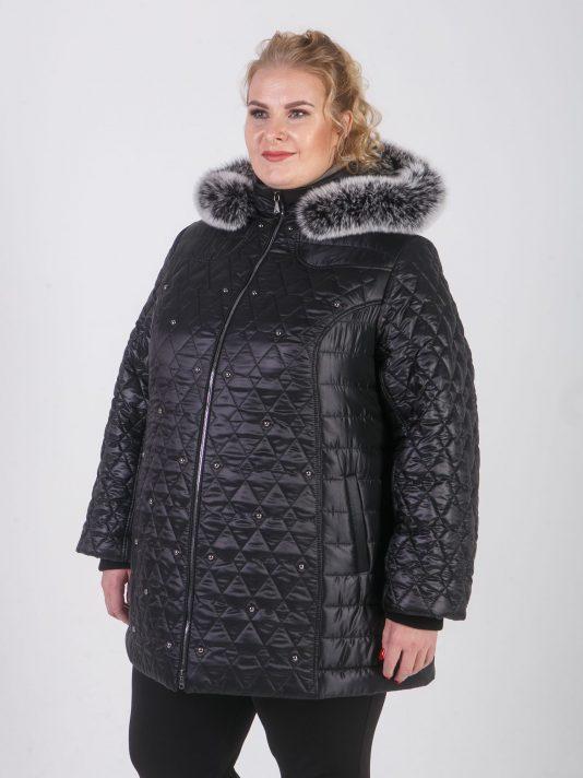 Женская куртка комбинированная с украшением из страз, цвет черный в интернет-магазине Фабрики Тревери
