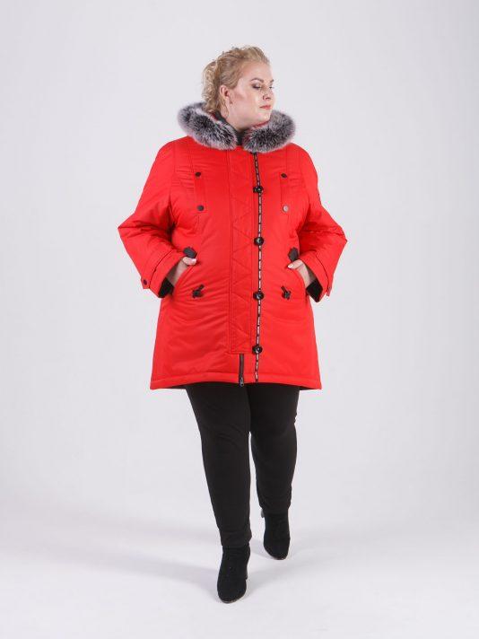Зимняя куртка из плащевой мембранной ткани, яркого красного цвета с песцом, цвет красный в интернет-магазине Фабрики Тревери