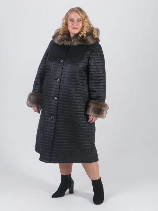 Женское стеганное пальто модного геометрического рисунка, цвет черный в интернет-магазине Фабрики Тревери