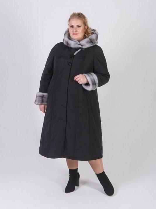 Пальто женское зимнее из плащевой ткани чернильного цвета, цвет черный в интернет-магазине Фабрики Тревери