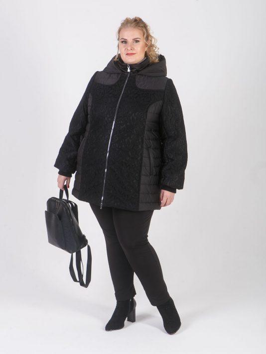 Стильная романтичная женская куртка с гипюром, цвет черный в интернет-магазине Фабрики Тревери